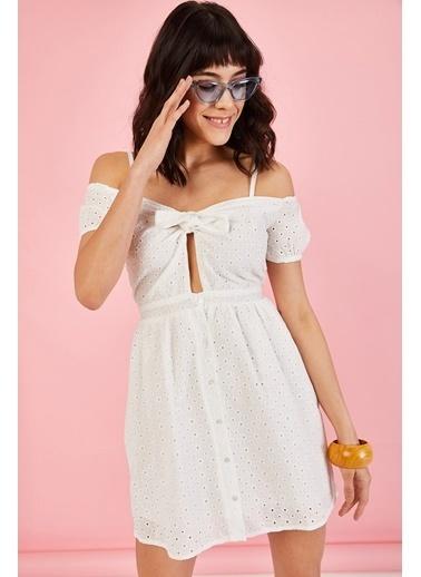 ESQ Askılı Fisto Elbise Beyaz